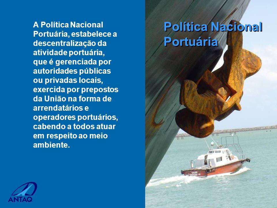A Política Nacional Portuária, estabelece a descentralização da atividade portuária, que é gerenciada por autoridades públicas ou privadas locais, exe