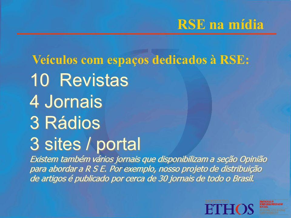 10 Revistas 4 Jornais 3 Rádios 3 sites / portal Existem também vários jornais que disponibilizam a seção Opinião para abordar a R S E. Por exemplo, no
