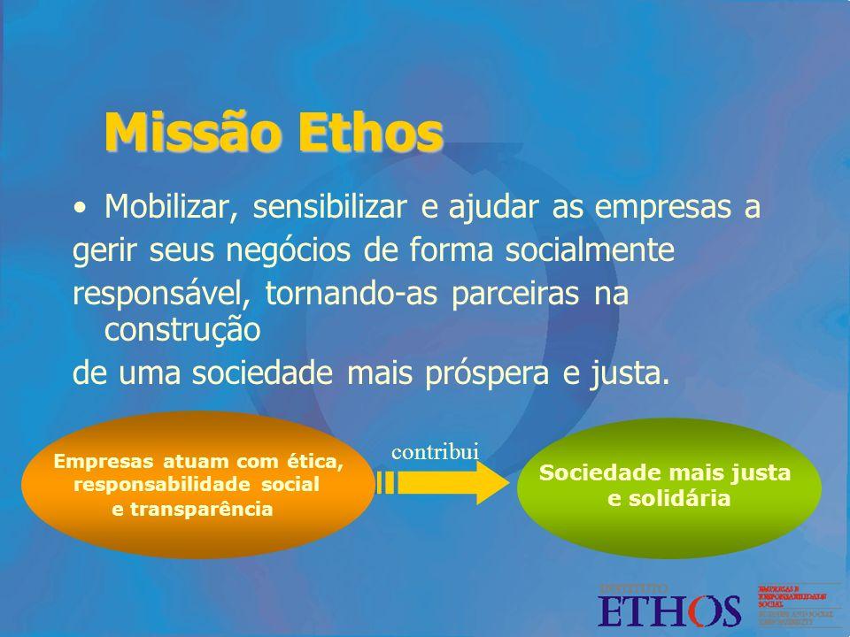 Missão Ethos Mobilizar, sensibilizar e ajudar as empresas a gerir seus negócios de forma socialmente responsável, tornando-as parceiras na construção