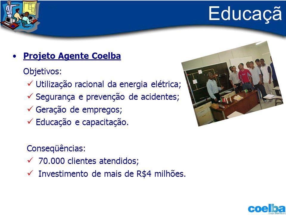 Educaçã o Projeto Agente Coelba Objetivos: Utilização racional da energia elétrica; Segurança e prevenção de acidentes; Geração de empregos; Educação