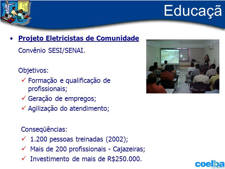 Educaçã o Projeto Eletricistas de Comunidade Convênio SESI/SENAI. Objetivos: Formação e qualificação de profissionais; Geração de empregos; Agilização