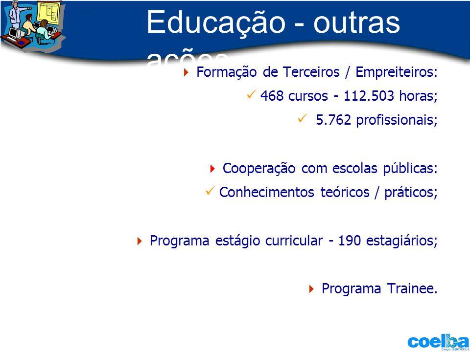 Educação - outras ações Formação de Terceiros / Empreiteiros: 468 cursos - 112.503 horas; 5.762 profissionais; Cooperação com escolas públicas: Conhec