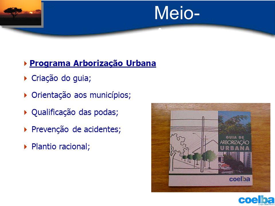 Meio- Ambiente Criação do guia; Orientação aos municípios; Qualificação das podas; Prevenção de acidentes; Plantio racional; Programa Arborização Urba