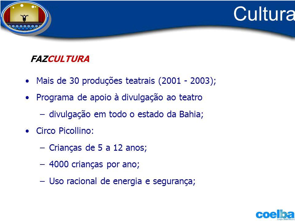 Cultura Mais de 30 produções teatrais (2001 - 2003); Programa de apoio à divulgação ao teatro –divulgação em todo o estado da Bahia; Circo Picollino: