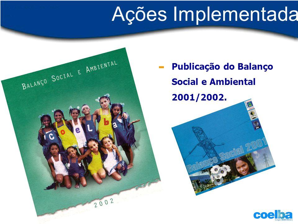 Ações Implementadas Publicação do Balanço Social e Ambiental 2001/2002.