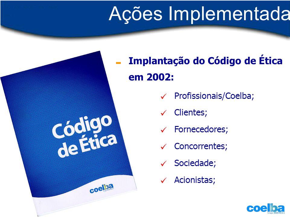 Ações Implementadas Profissionais/Coelba; Clientes; Fornecedores; Concorrentes; Sociedade; Acionistas; Implantação do Código de Ética em 2002: