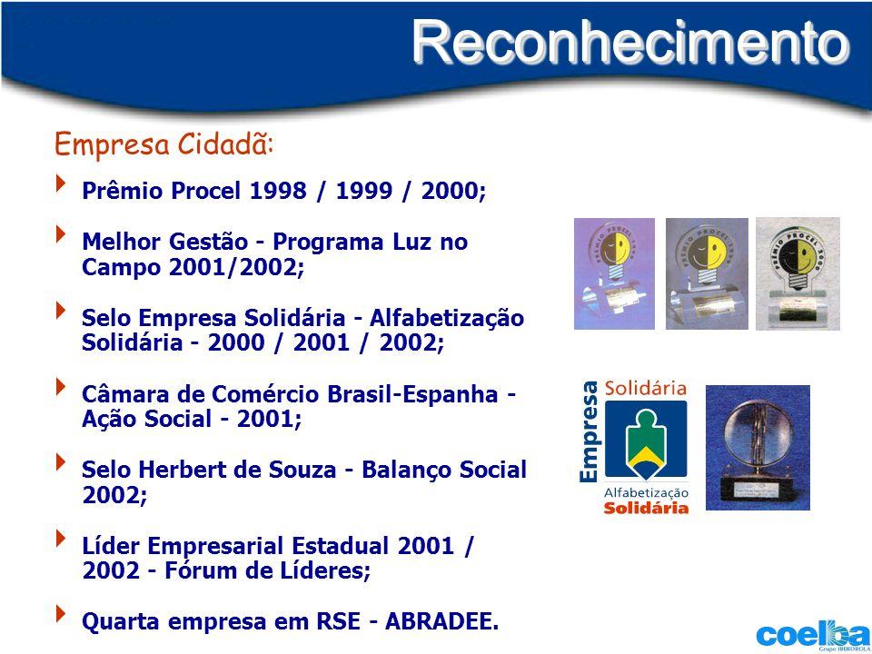 ReconhecimentoReconhecimento Prêmio Procel 1998 / 1999 / 2000; Melhor Gestão - Programa Luz no Campo 2001/2002; Selo Empresa Solidária - Alfabetização