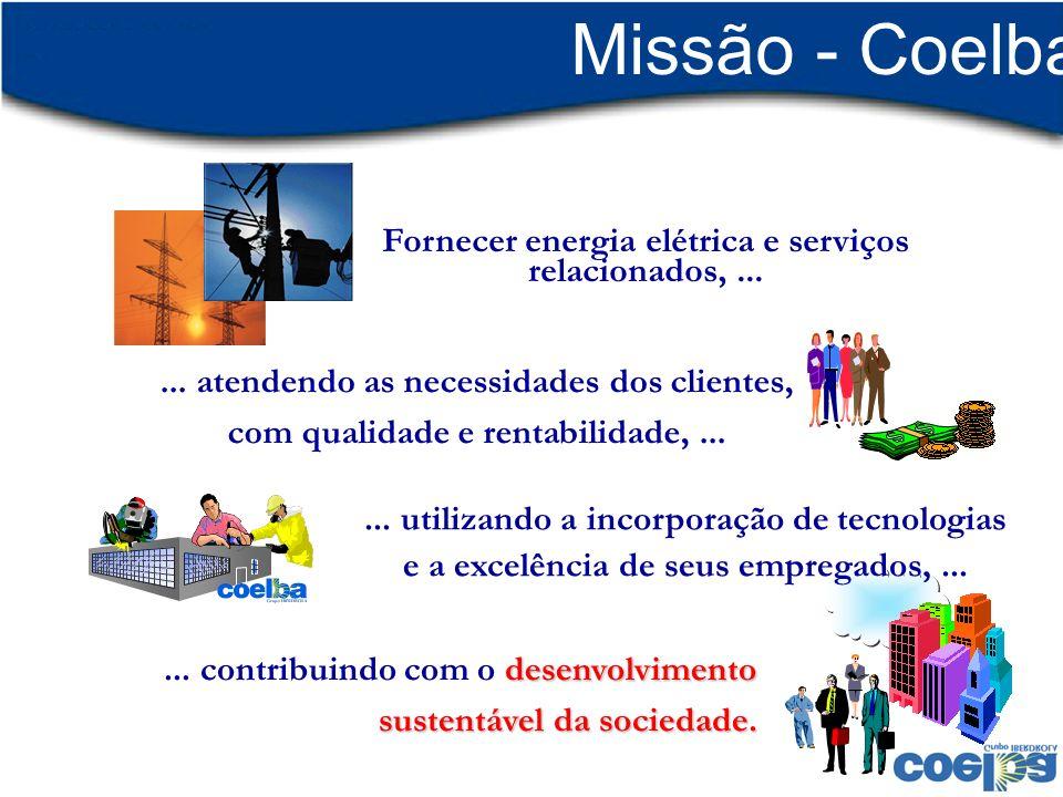 Fornecer energia elétrica e serviços relacionados,...... atendendo as necessidades dos clientes, com qualidade e rentabilidade,... desenvolvimento sus