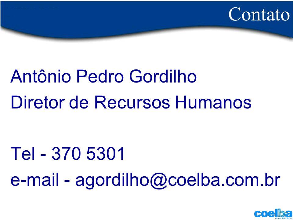 Contato Antônio Pedro Gordilho Diretor de Recursos Humanos Tel - 370 5301 e-mail - agordilho@coelba.com.br