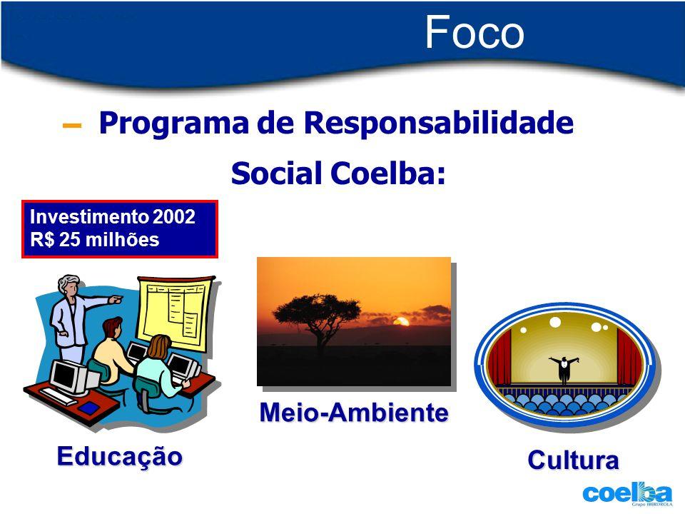 Foco externo Programa de Responsabilidade Social Coelba: Educação Meio-Ambiente Cultura Investimento 2002 R$ 25 milhões
