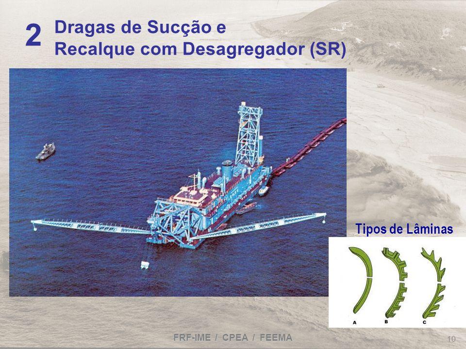 FRF-IME / CPEA / FEEMA 10 Dragas de Sucção e Recalque com Desagregador (SR) 2 Tipos de Lâminas