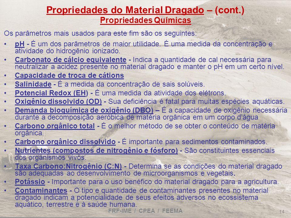FRF-IME / CPEA / FEEMA 14 Propriedades do Material Dragado – (cont.) Propriedades Químicas Os parâmetros mais usados para este fim são os seguintes: p