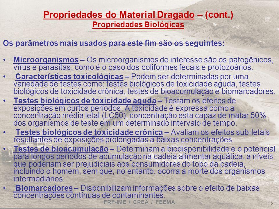 FRF-IME / CPEA / FEEMA 15 Propriedades do Material Dragado – (cont.) Propriedades Biológicas Os parâmetros mais usados para este fim são os seguintes: