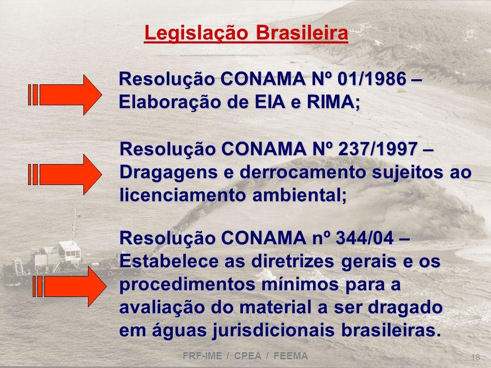 FRF-IME / CPEA / FEEMA 18 Resolução CONAMA Nº 237/1997 – Dragagens e derrocamento sujeitos ao licenciamento ambiental; Resolução CONAMA nº 344/04 – Es