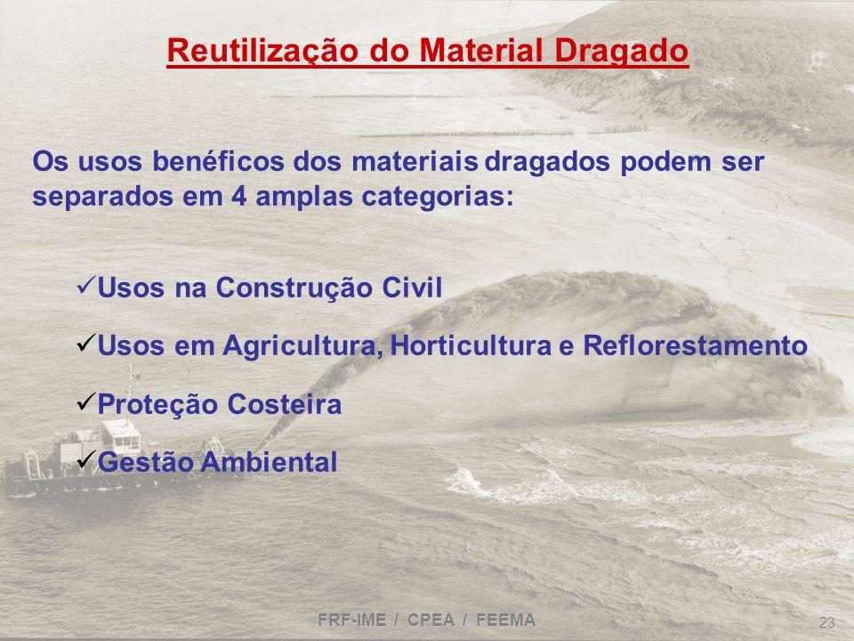 FRF-IME / CPEA / FEEMA 23 Reutilização do Material Dragado Os usos benéficos dos materiais dragados podem ser separados em 4 amplas categorias: Usos n