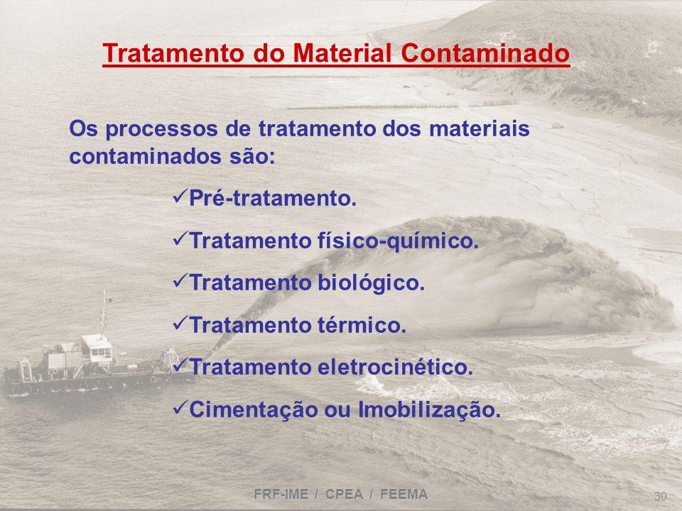 FRF-IME / CPEA / FEEMA 30 Tratamento do Material Contaminado Os processos de tratamento dos materiais contaminados são: Pré-tratamento. Tratamento fís