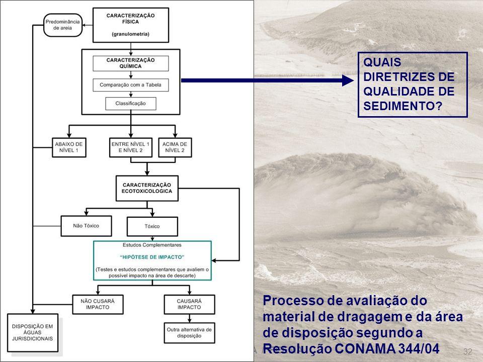FRF-IME / CPEA / FEEMA 32 Processo de avaliação do material de dragagem e da área de disposição segundo a Resolução CONAMA 344/04 QUAIS DIRETRIZES DE
