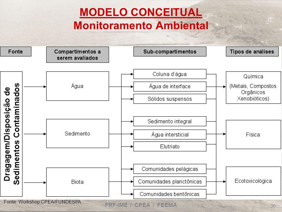 FRF-IME / CPEA / FEEMA 36 MODELO CONCEITUAL Monitoramento Ambiental Fonte: Workshop CPEA/FUNDESPA