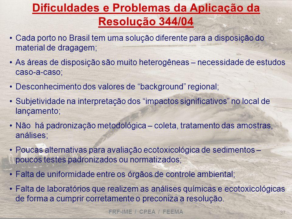 FRF-IME / CPEA / FEEMA 37 Dificuldades e Problemas da Aplicação da Resolução 344/04 Cada porto no Brasil tem uma solução diferente para a disposição d