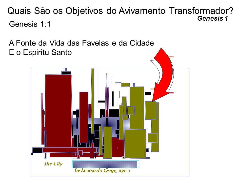 Genesis 1 Quais São os Objetivos do Avivamento Transformador? Genesis 1:1 A Fonte da Vida das Favelas e da Cidade E o Espiritu Santo