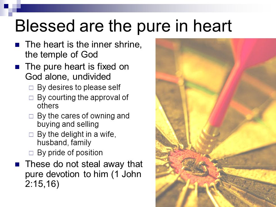 Blessed are the pure in heart The heart is the inner shrine, the temple of God The pure heart is fixed on God alone, undivided By desires to please self By courting the approval of others By the cares of owning and buying and selling By the delight in a wife, husband, family By pride of position These do not steal away that pure devotion to him (1 John 2:15,16)