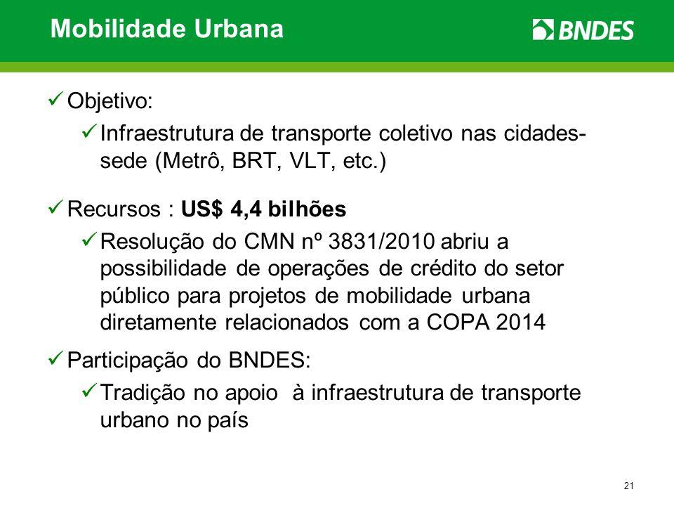 21 Mobilidade Urbana Objetivo: Infraestrutura de transporte coletivo nas cidades- sede (Metrô, BRT, VLT, etc.) Recursos : US$ 4,4 bilhões Resolução do