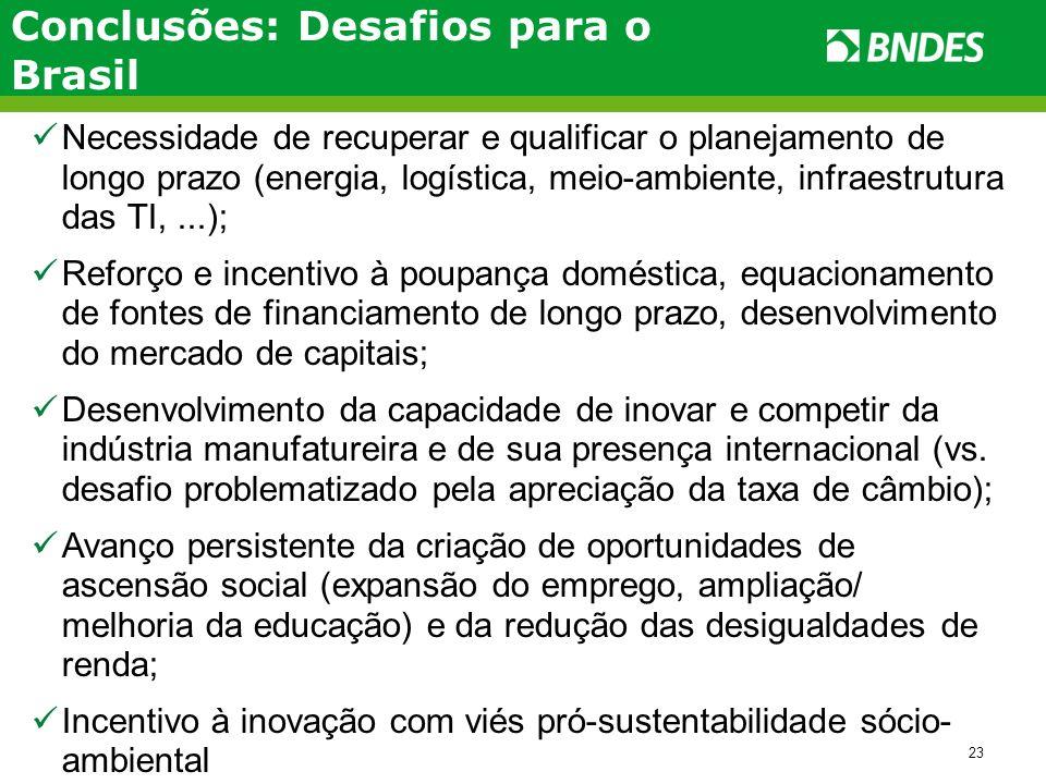 23 Conclusões: Desafios para o Brasil Necessidade de recuperar e qualificar o planejamento de longo prazo (energia, logística, meio-ambiente, infraest
