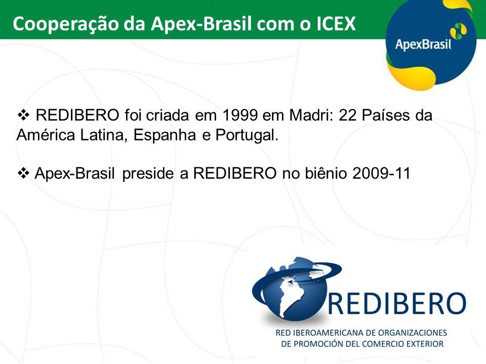 Cooperação da Apex-Brasil com o ICEX REDIBERO foi criada em 1999 em Madri: 22 Países da América Latina, Espanha e Portugal. Apex-Brasil preside a REDI