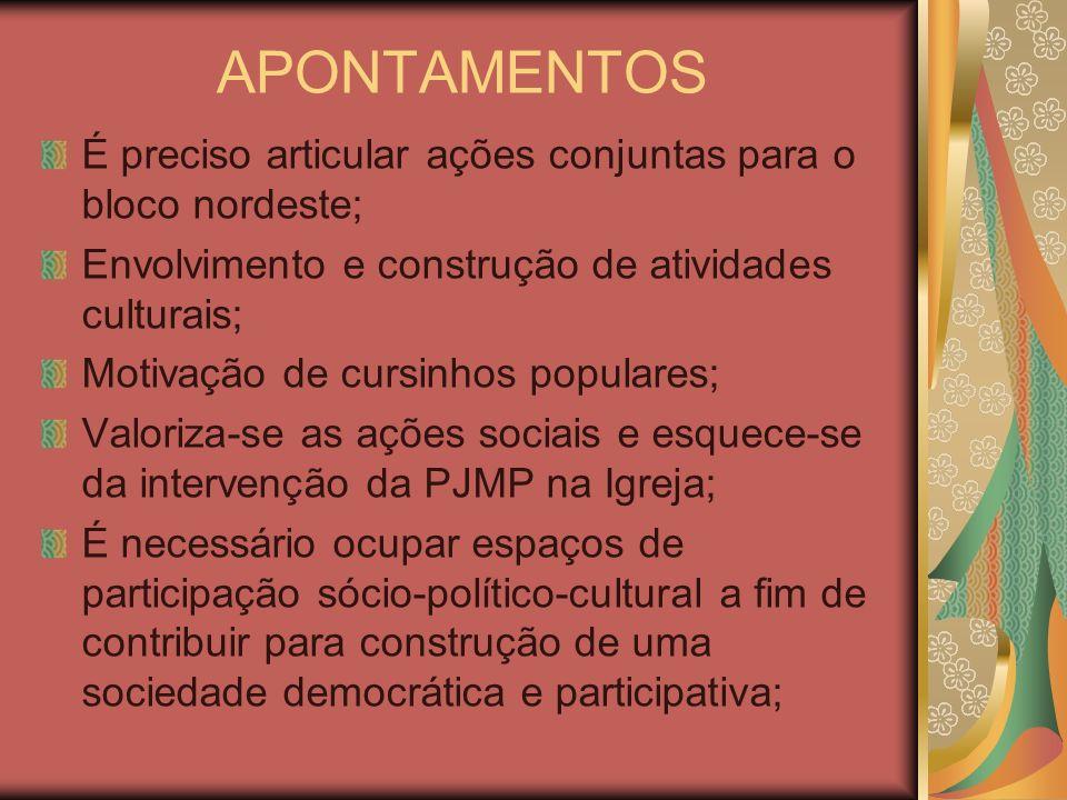 APONTAMENTOS É preciso articular ações conjuntas para o bloco nordeste; Envolvimento e construção de atividades culturais; Motivação de cursinhos popu