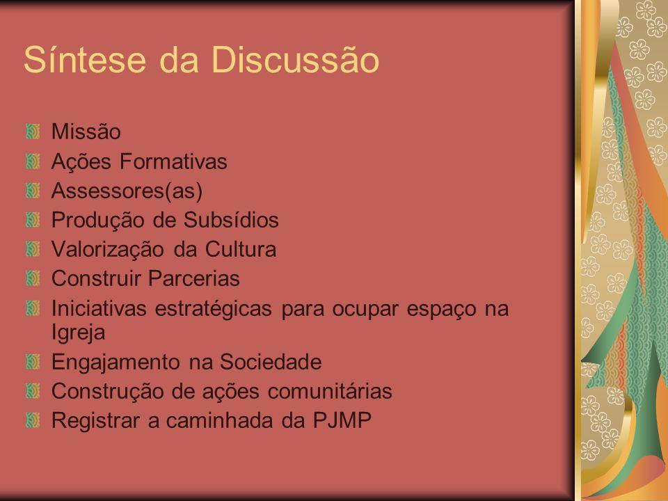 Síntese da Discussão Missão Ações Formativas Assessores(as) Produção de Subsídios Valorização da Cultura Construir Parcerias Iniciativas estratégicas