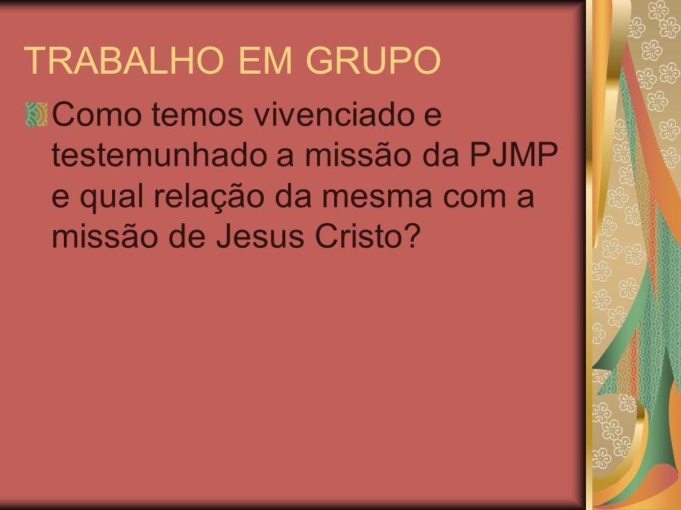 TRABALHO EM GRUPO Como temos vivenciado e testemunhado a missão da PJMP e qual relação da mesma com a missão de Jesus Cristo?
