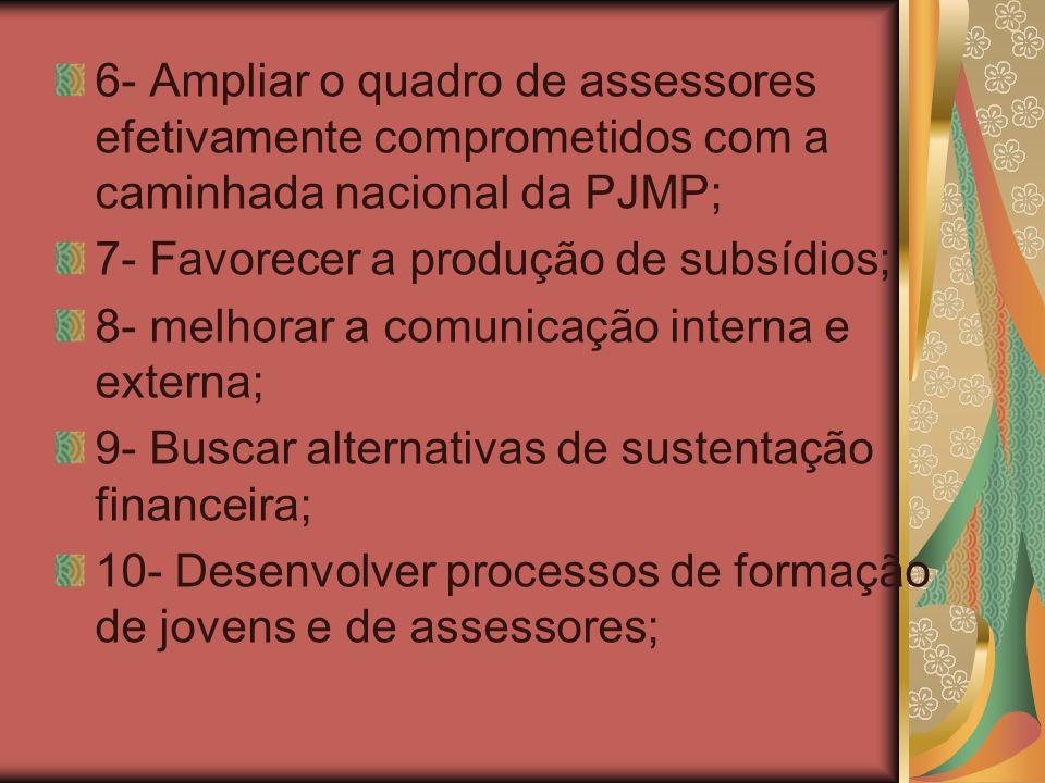 6- Ampliar o quadro de assessores efetivamente comprometidos com a caminhada nacional da PJMP; 7- Favorecer a produção de subsídios; 8- melhorar a com