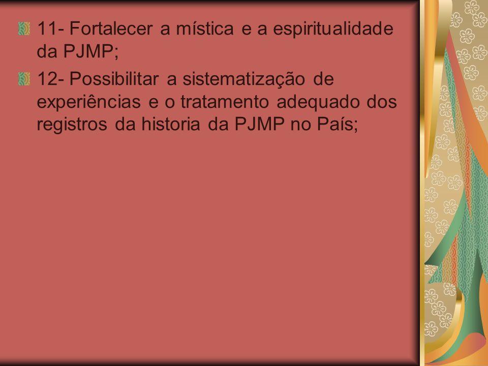 11- Fortalecer a mística e a espiritualidade da PJMP; 12- Possibilitar a sistematização de experiências e o tratamento adequado dos registros da histo