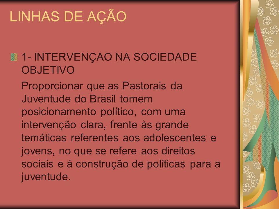 LINHAS DE AÇÃO 1- INTERVENÇAO NA SOCIEDADE OBJETIVO Proporcionar que as Pastorais da Juventude do Brasil tomem posicionamento político, com uma interv