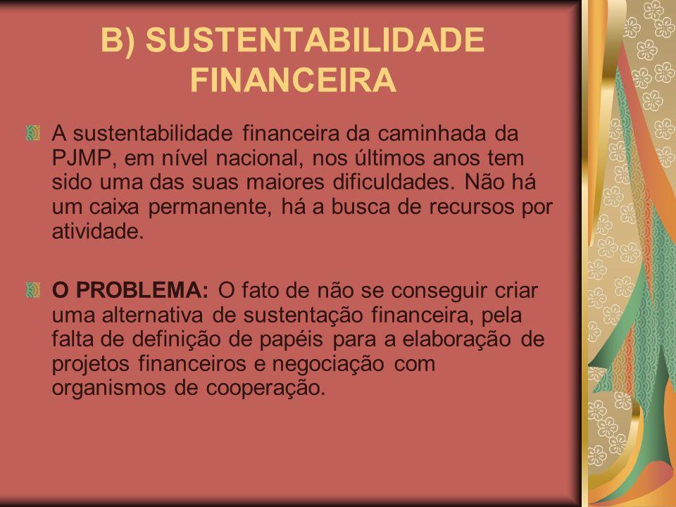 B) SUSTENTABILIDADE FINANCEIRA A sustentabilidade financeira da caminhada da PJMP, em nível nacional, nos últimos anos tem sido uma das suas maiores d
