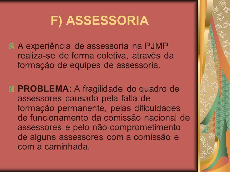 F) ASSESSORIA A experiência de assessoria na PJMP realiza-se de forma coletiva, através da formação de equipes de assessoria. PROBLEMA: A fragilidade