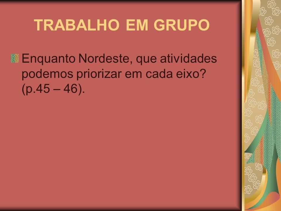 TRABALHO EM GRUPO Enquanto Nordeste, que atividades podemos priorizar em cada eixo? (p.45 – 46).