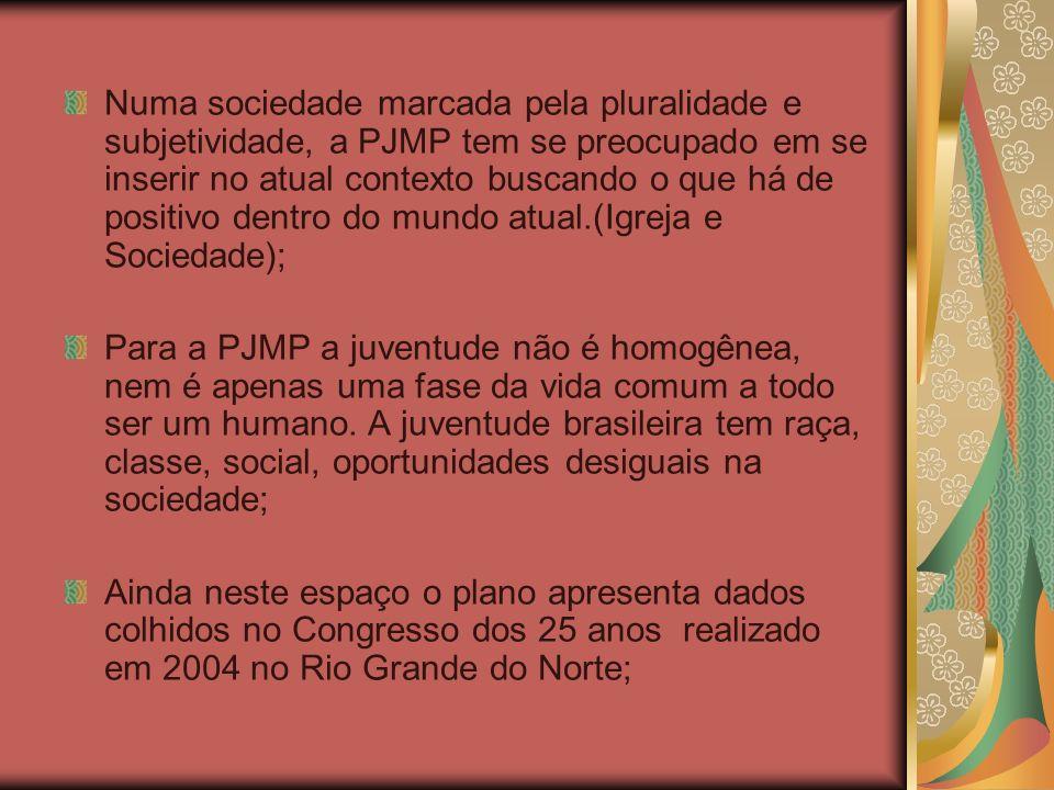 4- OBJETIVOS DO PLANO 1- Ser um guia para a caminhada da PJMP em todo o Brasil nos próximo três anos, orientados diretamente as ações da articulação nacional e subsidiando as definições e ações da PJMP nos regionais e dioceses; 2- Ampliar a articulação da PJMP no Brasil; 3- Favorecer o estabelecimento de parcerias na Igreja e na sociedade, sobretudo com outros movimentos e redes juvenis do país; 4- Fortalecer a inserção e contribuição da PJMP no conjunto da caminhada das Pastorais de Juventude do Brasil; 5- Contribuir no fortalecimento das instâncias da organização nacional: comissões, secretaria;