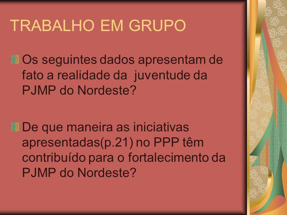 TRABALHO EM GRUPO Os seguintes dados apresentam de fato a realidade da juventude da PJMP do Nordeste? De que maneira as iniciativas apresentadas(p.21)