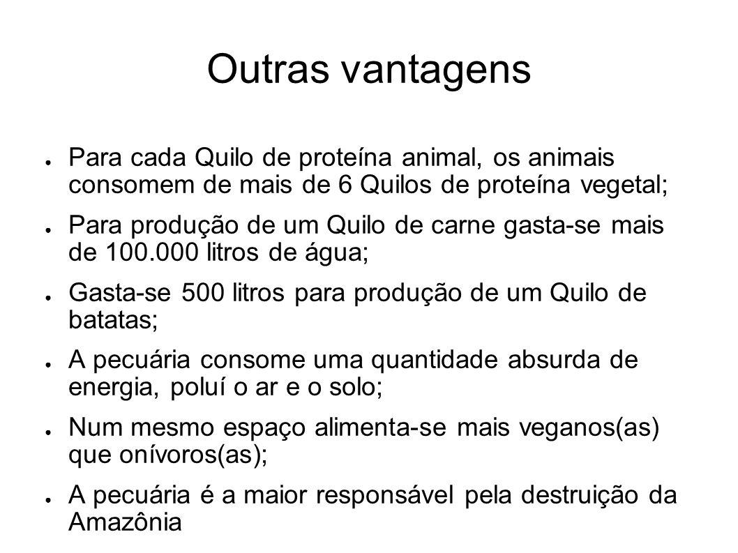 Outras vantagens Para cada Quilo de proteína animal, os animais consomem de mais de 6 Quilos de proteína vegetal; Para produção de um Quilo de carne g