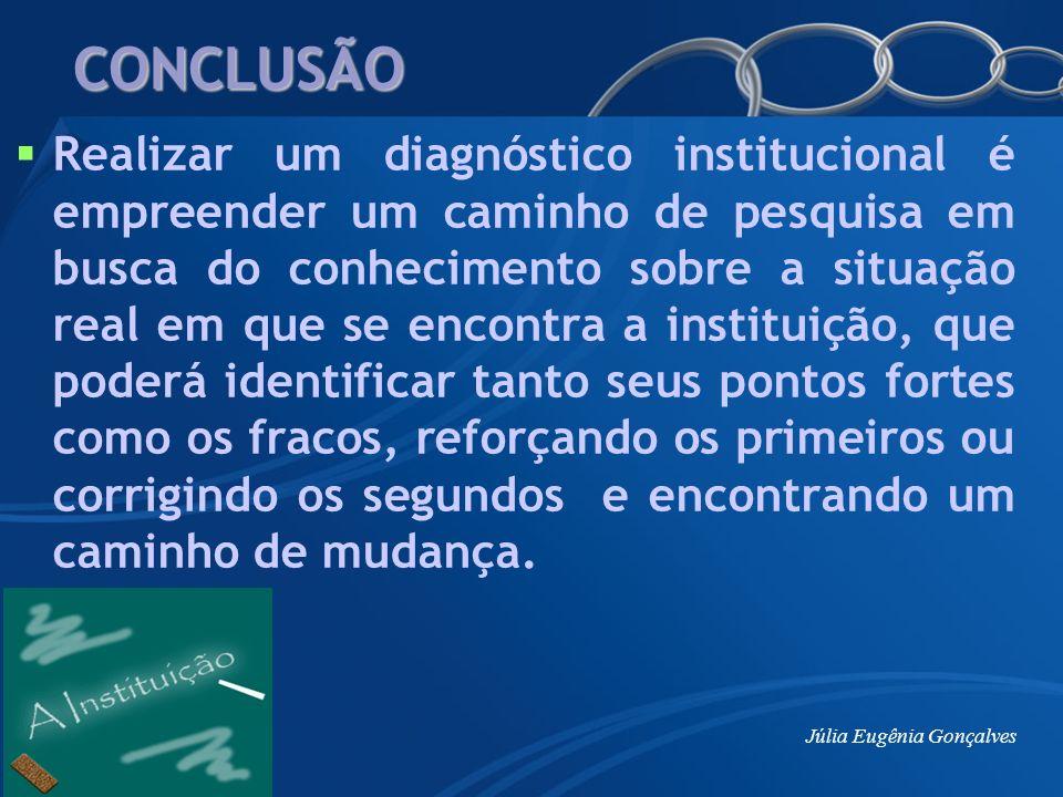 Júlia Eugênia Gonçalves CONCLUSÃO Realizar um diagnóstico institucional é empreender um caminho de pesquisa em busca do conhecimento sobre a situação