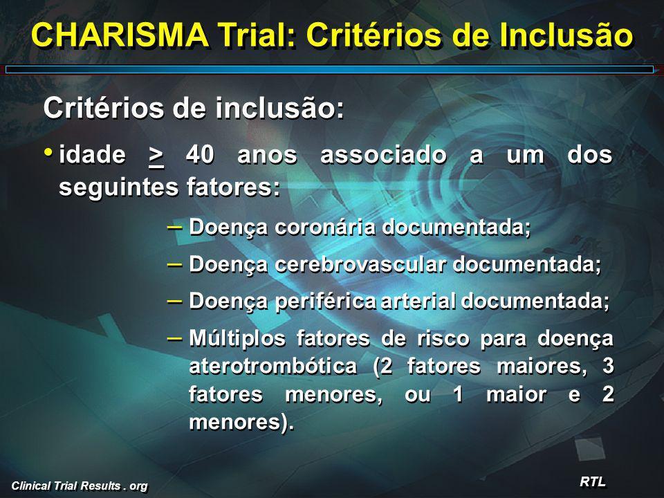 Clinical Trial Results. org CHARISMA Trial: Critérios de Inclusão Critérios de inclusão: idade > 40 anos associado a um dos seguintes fatores: – Doenç
