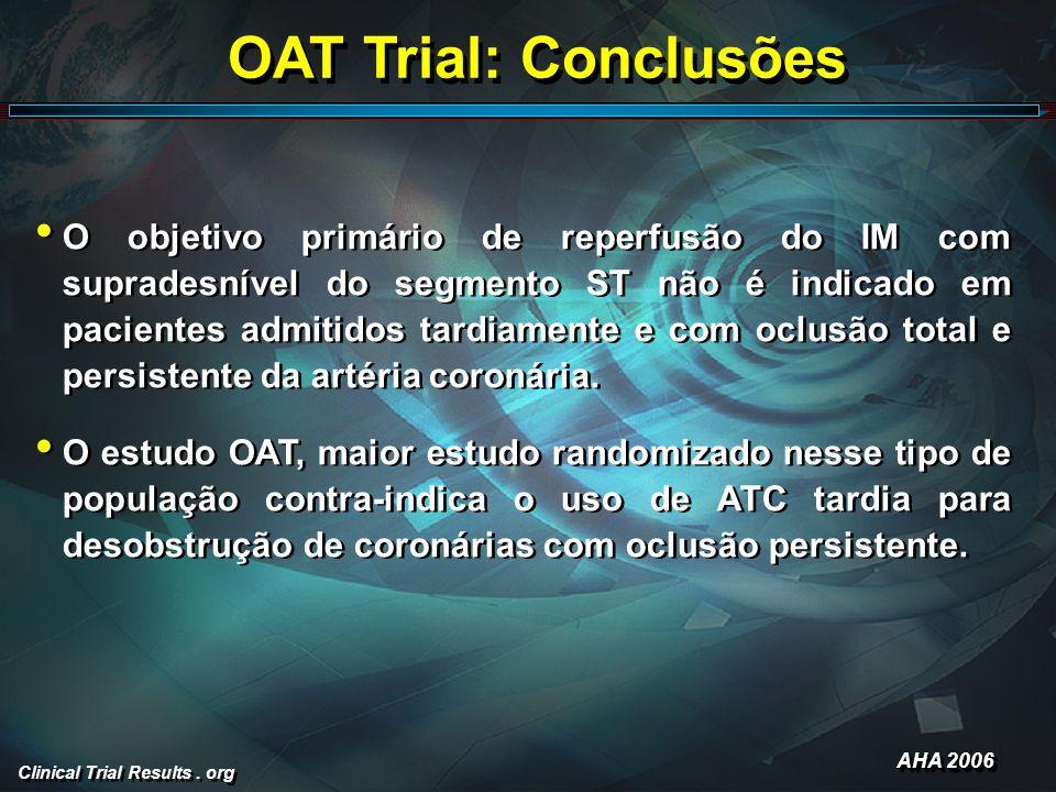 Clinical Trial Results. org OAT Trial: Conclusões O objetivo primário de reperfusão do IM com supradesnível do segmento ST não é indicado em pacientes
