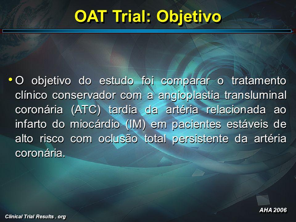 Clinical Trial Results. org OAT Trial: Objetivo O objetivo do estudo foi comparar o tratamento clínico conservador com a angioplastia transluminal cor