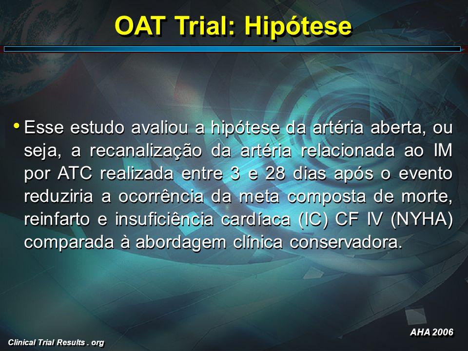 Clinical Trial Results. org OAT Trial: Hipótese Esse estudo avaliou a hipótese da artéria aberta, ou seja, a recanalização da artéria relacionada ao I