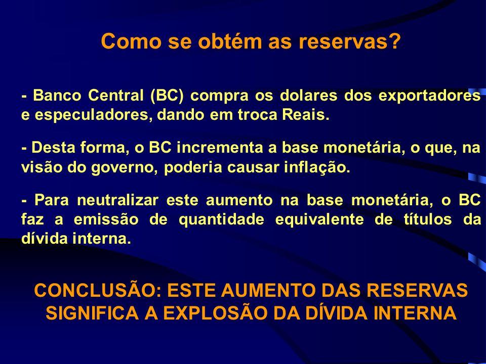 Como se obtém as reservas? - Banco Central (BC) compra os dolares dos exportadores e especuladores, dando em troca Reais. - Desta forma, o BC incremen