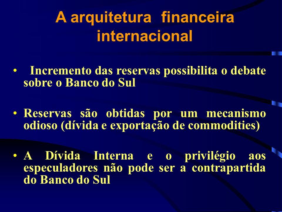 A arquitetura financeira internacional Incremento das reservas possibilita o debate sobre o Banco do Sul Reservas são obtidas por um mecanismo odioso