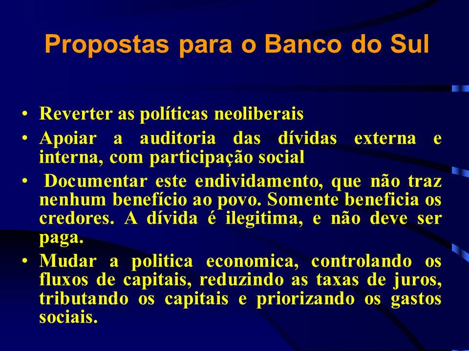 Propostas para o Banco do Sul Reverter as políticas neoliberais Apoiar a auditoria das dívidas externa e interna, com participação social Documentar e
