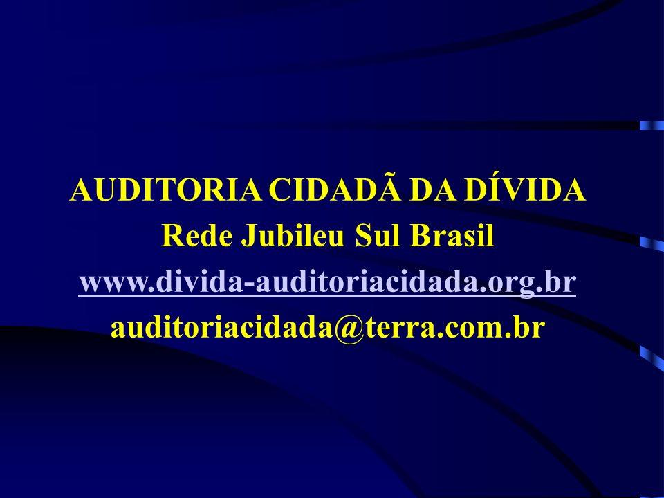 AUDITORIA CIDADÃ DA DÍVIDA Rede Jubileu Sul Brasil www.divida-auditoriacidada.org.br auditoriacidada@terra.com.br