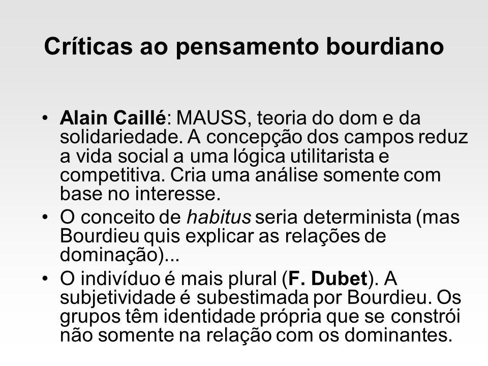 Críticas ao pensamento bourdiano Alain Caillé: MAUSS, teoria do dom e da solidariedade. A concepção dos campos reduz a vida social a uma lógica utilit